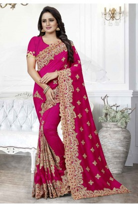 Pink Colour Party Wear Saree.