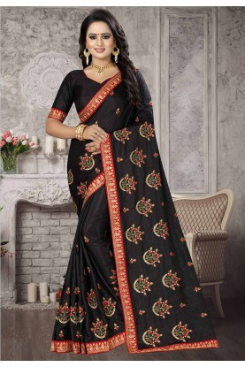 Black Colour Satin,Silk Saree.