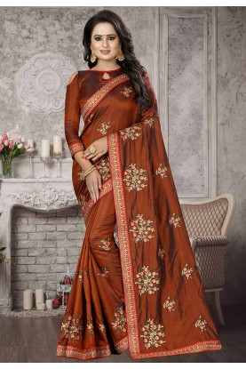 Designer Saree in Brown Colour.