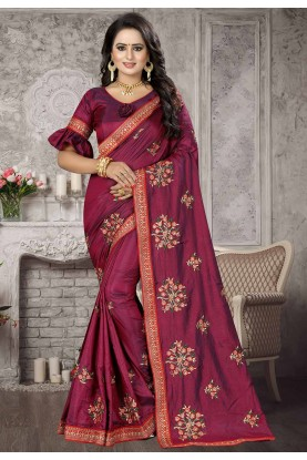 Magenta,Pink Colour Saree.