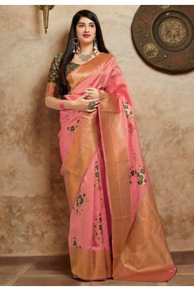 Pink Colour Banarasi Silk Saree.