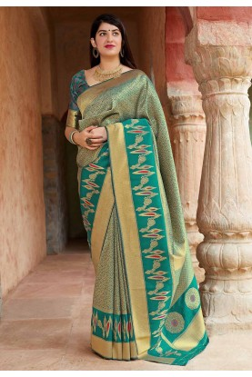 Green Colour Traditional Saree.