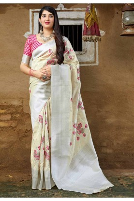 Off White Colour Silk Sari.