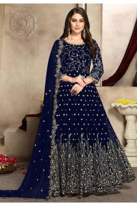 Blue Colour Embroidery Salwar Suit.