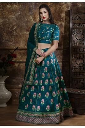 Blue Colour Art Silk Designer Lehenga.