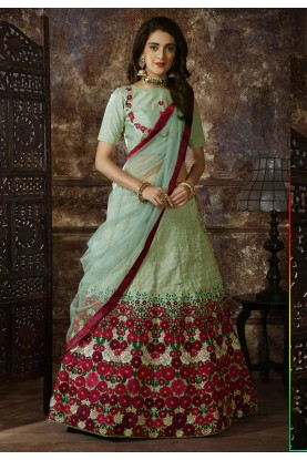 Green Colour Wedding Lehenga Choli.