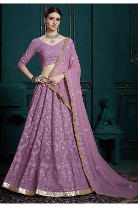 Purple Colour Designer Lehenga Choli.