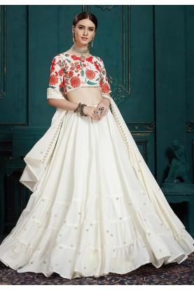 White Colour Embroidery Lehenga Choli.
