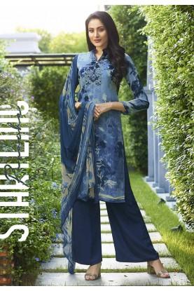 Blue Colour Printed Salwar Suit.