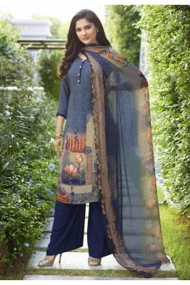 Blue Colour Regular Wear Salwar Suit.