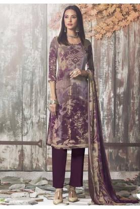 Purple Colour Printed Salwar Suit.