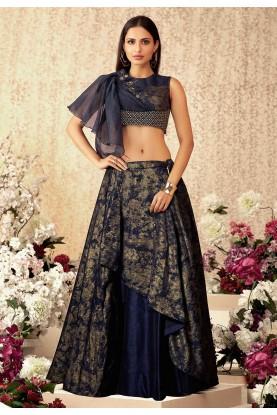 Blue Colour Indian Designer Lehenga Choli.