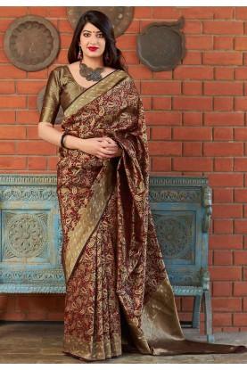 Maroon Colour Designer Saree.
