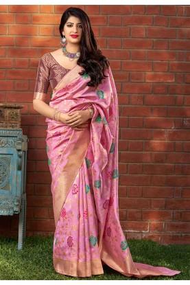 Pink Colour Banarasi Silk Saree.