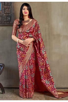 Pink Colour Silk Saree.