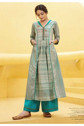 Off White,Blue Colour Long Kurti.