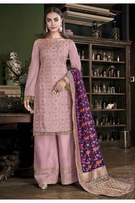Pink Colour Silk Salwar Kameez.