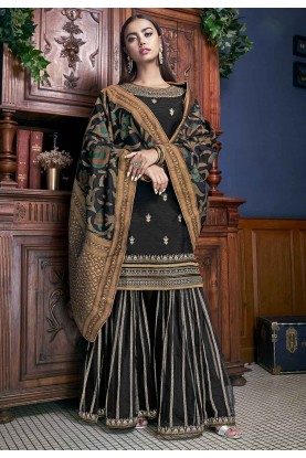 Black Colour Art Silk Fabric Women Salwar Suit.