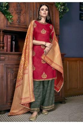 Red Designer Salwar Suit For Women.