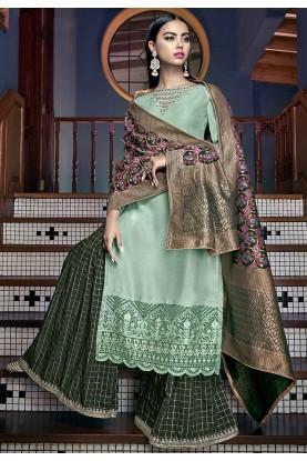 Green Colour Silk Designer Salwar Kameez.