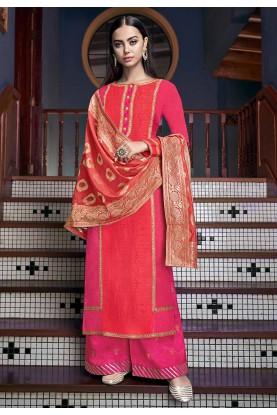 Orange,Pink Palazzo Suit.