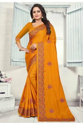 Yellow Colour Indian Traditional Saree.
