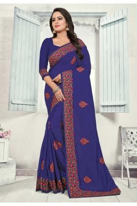 Blue Colour Party Wear Sari.