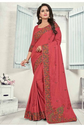 Pink Colour Art Silk Designer Sari.