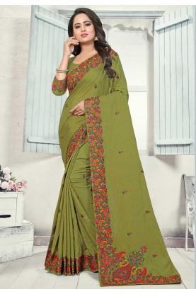 Green Colour Indian Saree.