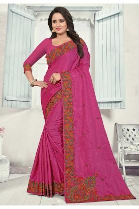Pink Colour Art Silk Saree.