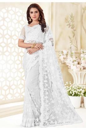 White Colour Net Saree.