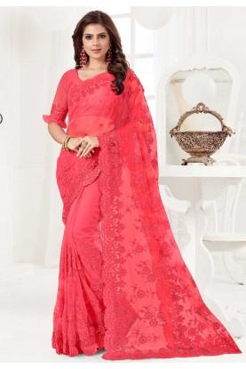Pink Colour Indian Saree.