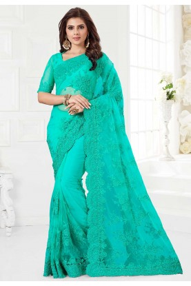 Green Colour Net Saree.