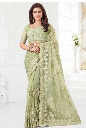 Indian Designer Sari Green Colour.