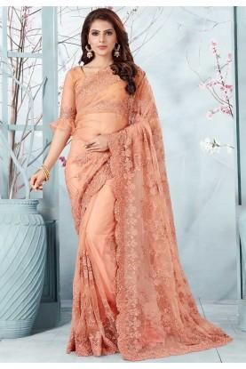 Peach Colour Embroidery Saree.