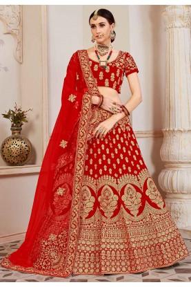 Red Colour Velvet Lehenga Choli.