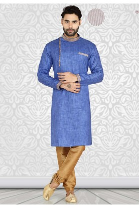 Blue Colour Cotton Readymade Kurta Pajama.