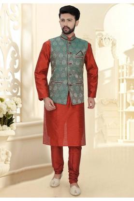 Maroon Colour Silk Kurta Pajama Jacket.