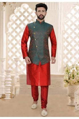 Maroon Colour Designer Kurta Pajama Jacket.