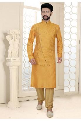 Yellow Colour Indian Wedding Kurta Pajama Jacket.
