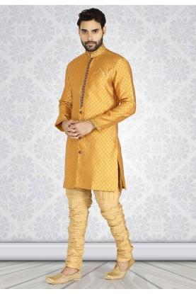 Mustard Colour Designer Semi Indo Kurta Pajama.