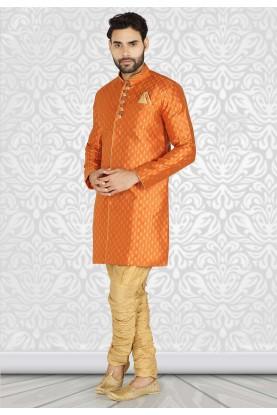 Orange Colour Semi Indowestern Kurta Pajama.