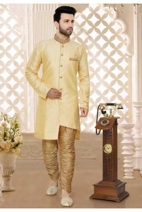 Golden,Beige Semi Indo Kurta Pajama.