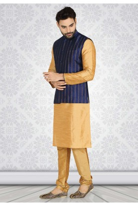 Beige,Blue Colour Silk Party Wear Kurta Pajama For Men.