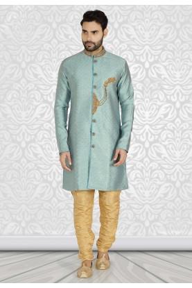 Blue Colour Brocade Fabric Men's Semi Indowestern.