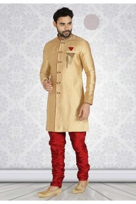 Golden,Beige Color Indian Wedding Semi Indo Kurta Pajama.