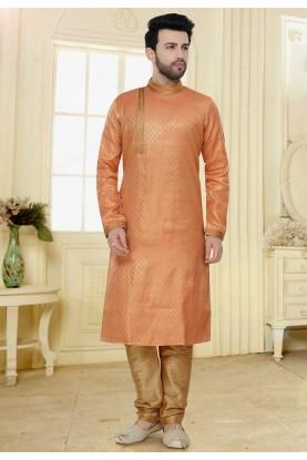 Peach Colour Readymade Kurta Pajama.