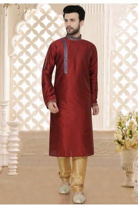 Maroon Colour Wedding Kurta Pajama.