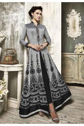 Designer Salwar Kameez in Grey Color & Embroidery Work