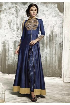 Beautiful Salwar Kameez in Navy Blue Color & Embroidery Work